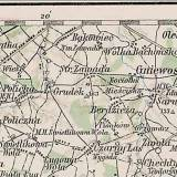 Austriacka mapa wojskowa. Pole bitwy pomiędzy Gródkiem i Zawadą.