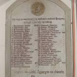 Tablica z nazwiskami poległych na frontach I w. ś. i w 1920 r.