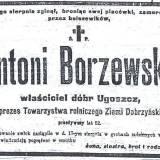 Nekrolog Antoniego Borzewskiego.