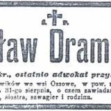 Nekrolog Czesława Dramińskiego.